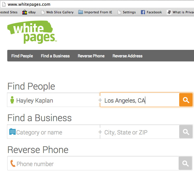 personal information search