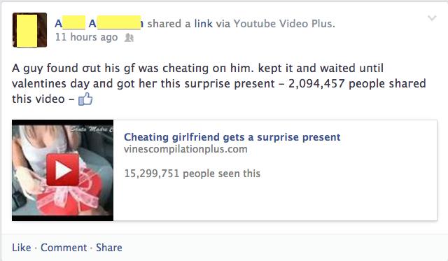 Enticing status update is suspicious too.