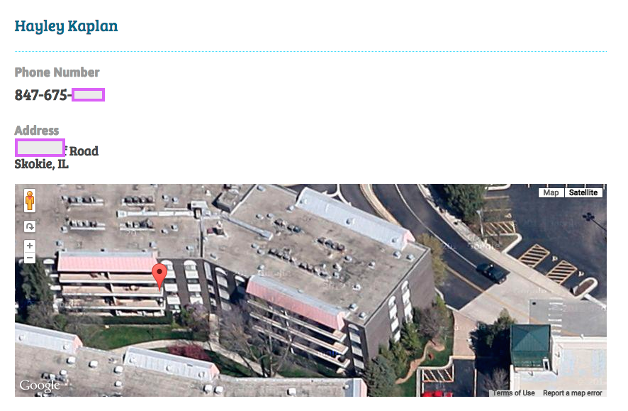 """Picture B: Clicking on the """"+ More"""" link reveals full phone number, address and location on a satellite map"""