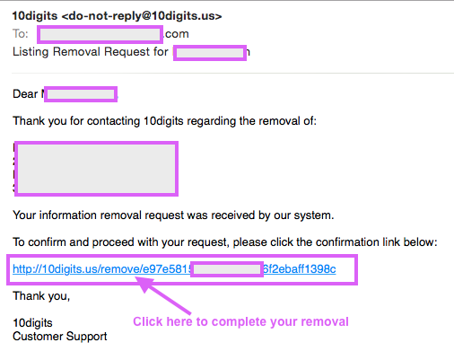 You must click on the link in the email to complete your removal process