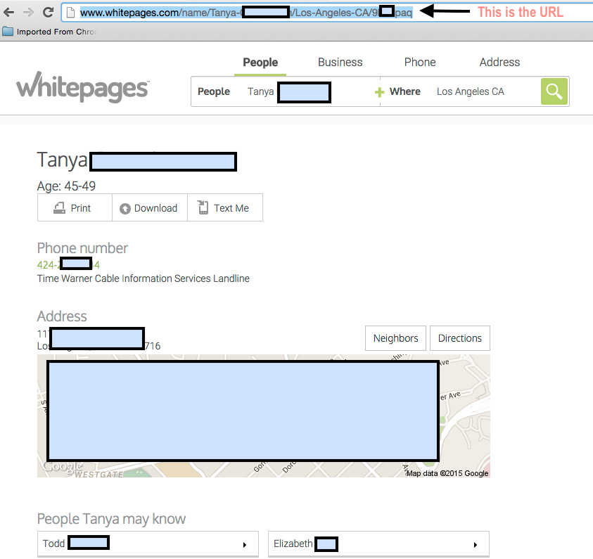 Full whitepages profile