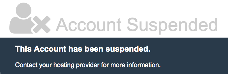 Suspension of site by host