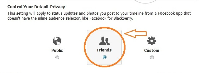 """Privacy Control is defaulted to """"Friends"""" on Facebook"""