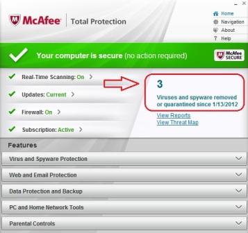 My McAfee has keep me virus free