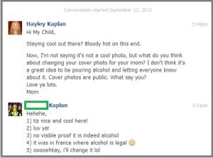 Facebook messaging my child