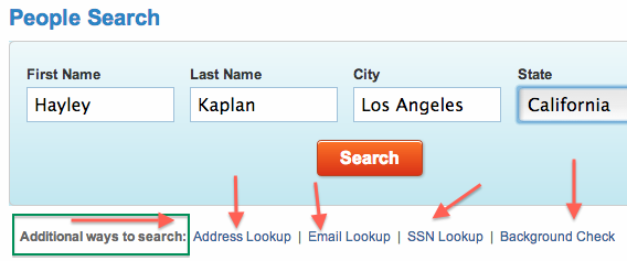 additional search options