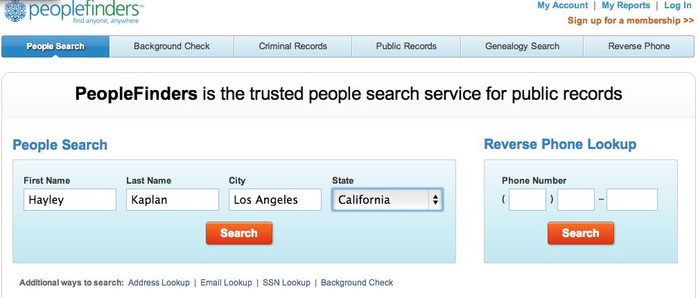 private info search