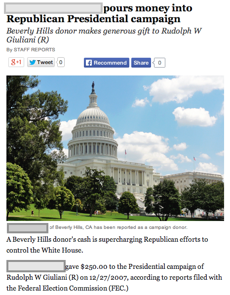 This exaggerated headline appears on all donations regardless of amount.
