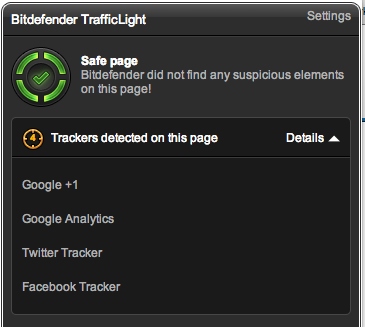 A green, yellow or red traffic light lets me know if it's safe to go to a given site
