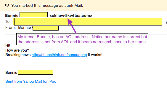I've blocked out her name for her protection, but this is a recent email I got from my friend, Bonnie