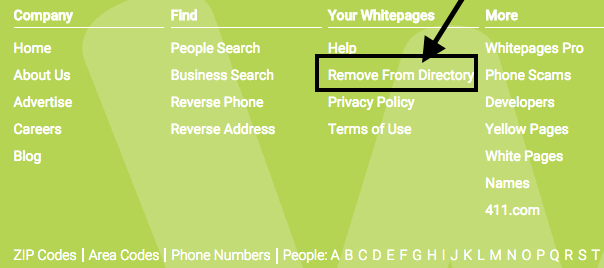 Delete your information in whitepages