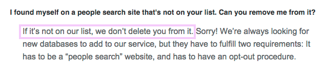 I'd worry about this statement in a removal service FAQ