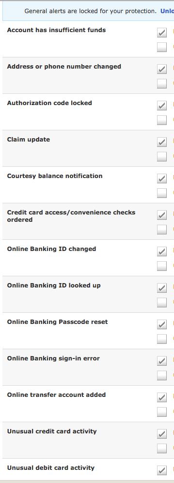 Sample Banking Alerts