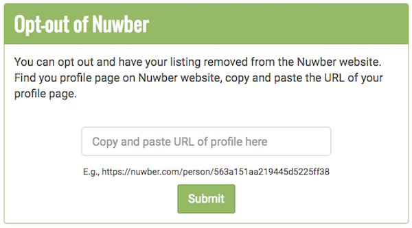 Remove your information from Nuwber